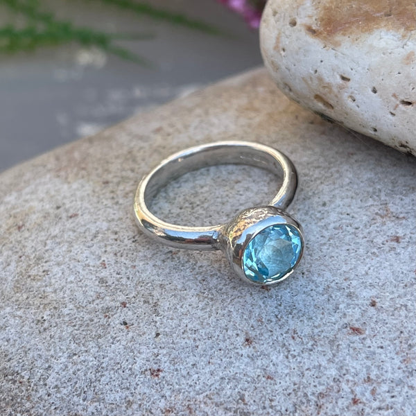 Behrianna Cocktail Ring - 7.5 mm - Blue Topaz - Silver
