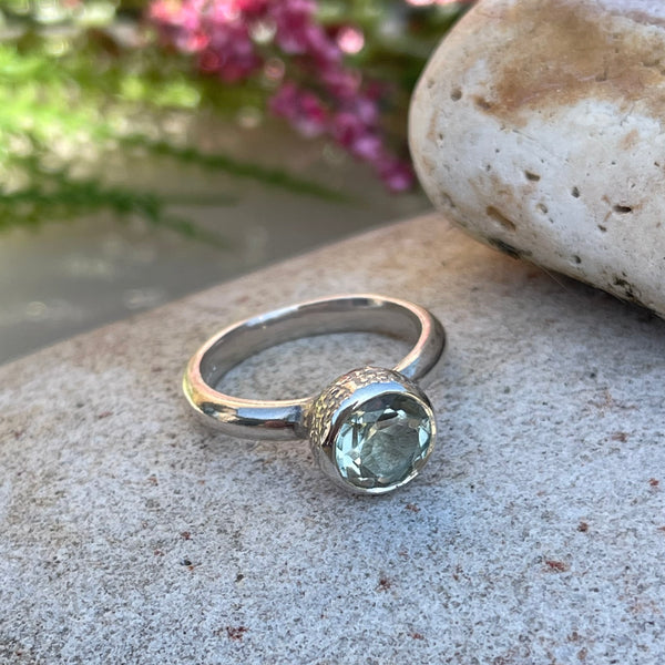 Behrianna Cocktail Ring - 7.5 mm - Green Amethyst - Silver