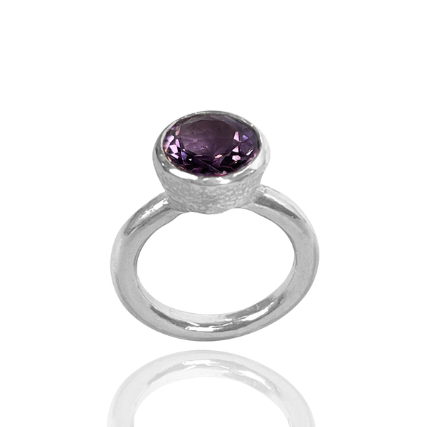 Behrianna Cocktail Ring - 10mm Amethyst - Silver