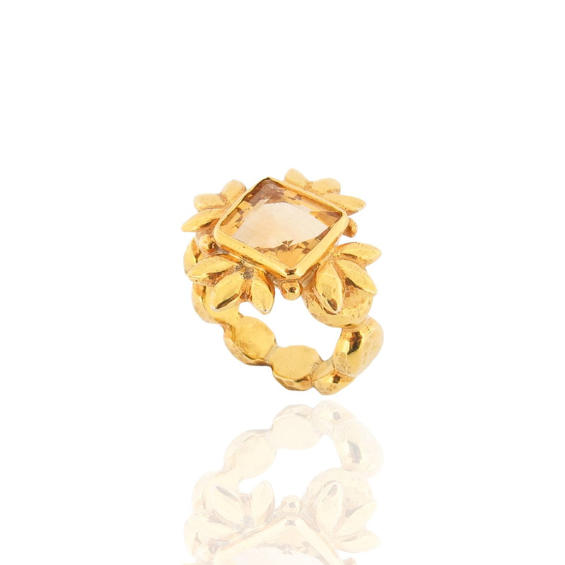 Sun Of Lotus Ring - Citrine