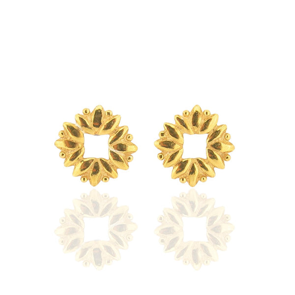 Sun Of Lotus Studs - Gold