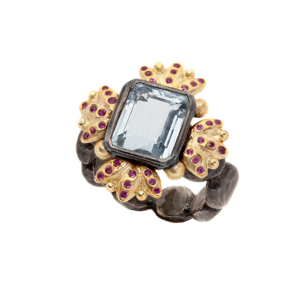 Antoinette Cocktail Ring - Pink Sapphires & Blue Topaz