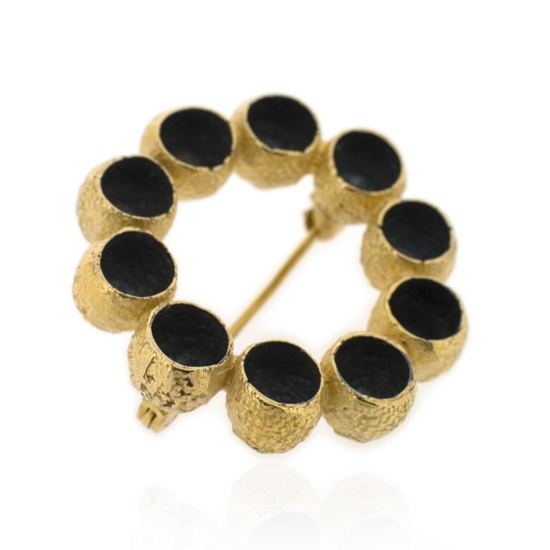 Garland Brooch - Black & Gold