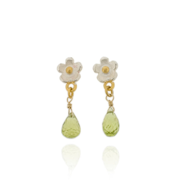 Marguerite Drop Earrings - Peridot