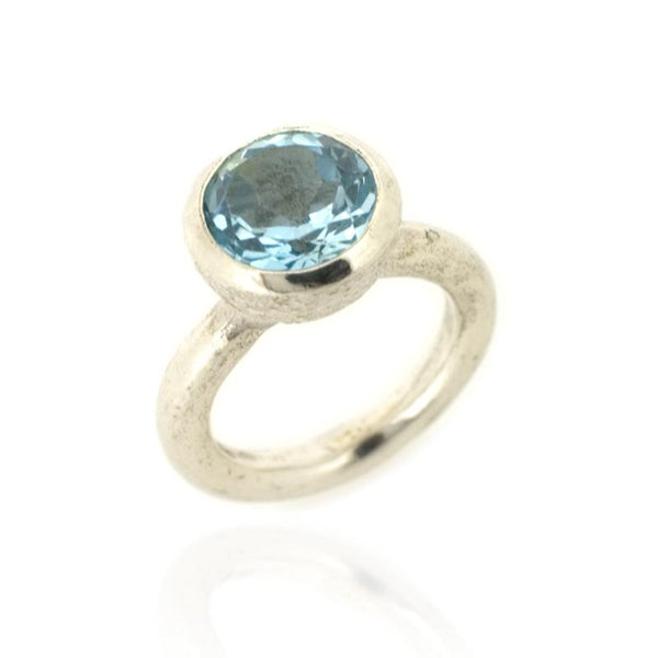 Behrianna Cocktail Ring - 10mm Blue Topaz  - Silver
