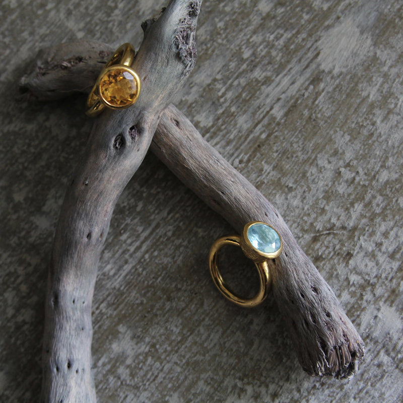 Behrianna Cocktail Ring - 10mm Blue Topaz  - 9 ct Gold