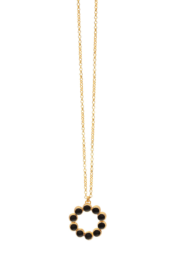 Long Garland Pendant - Black & Gold