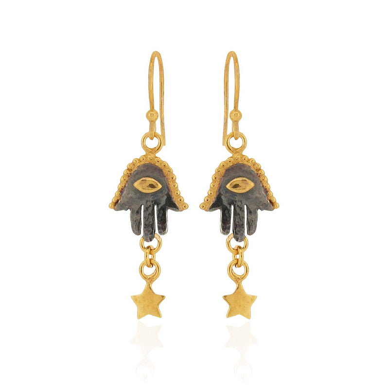 Fatima Hamsa Hand - Earrings - Black