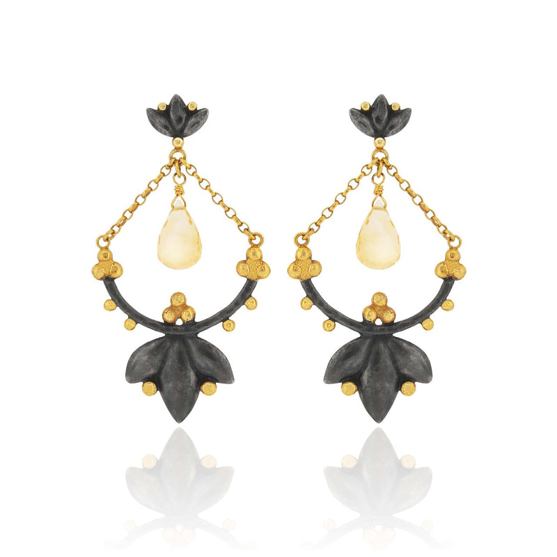 Helena Earrings - Citrines - Black Silver