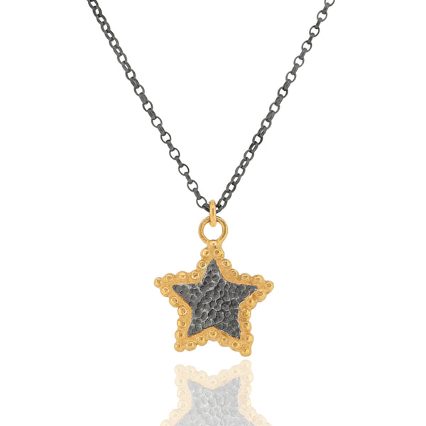Hespe Star Pendant - Black & Gold