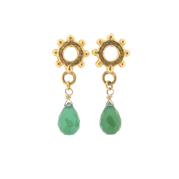 Casia Drop Earrings - Chrysoprase - Gold