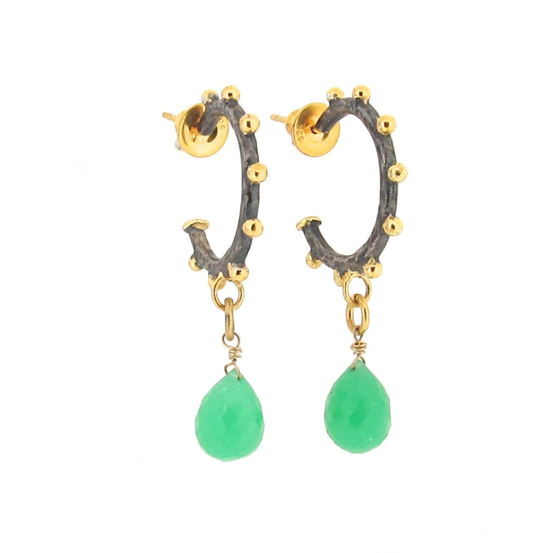 Nina Staggered Hoops - Chrysoprase - Black & Gold