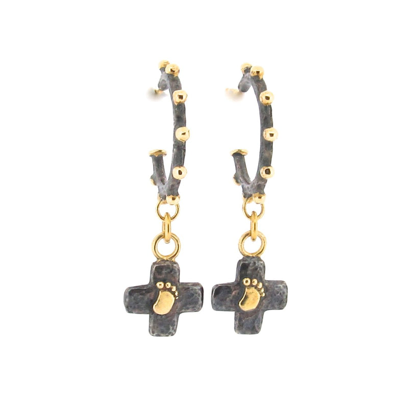 Bemus Baby Foot Cross Earrings - Cleo Hoops - Black & Gold