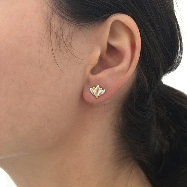 Small Lotus Stud Earrings - Silver