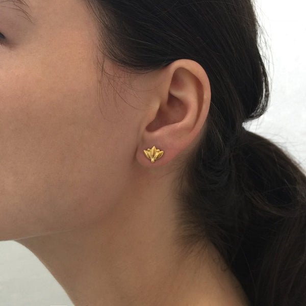Small Lotus Studs - Gold