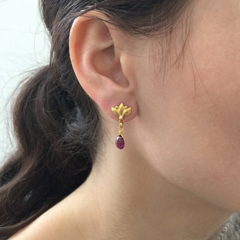 Small Lotus Drop Earrings - Rhodolite Garnet - Gold