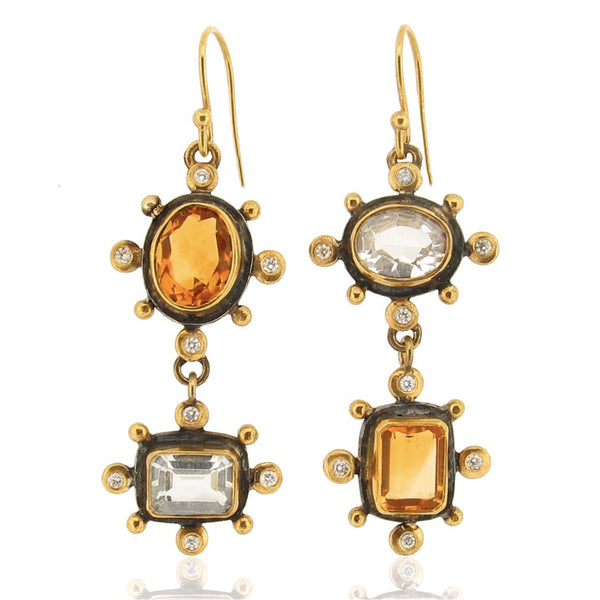Arianna Earrings - Topazes & Diamonds
