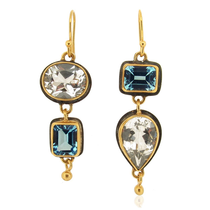 Nola Earrings - Blue & White Topaz