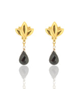 Large Lotus Drop Earrings - Black Spinel - Gold