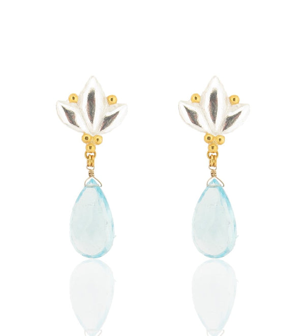 Large Lotus Drop Earrings - Blue Topaz - Silver