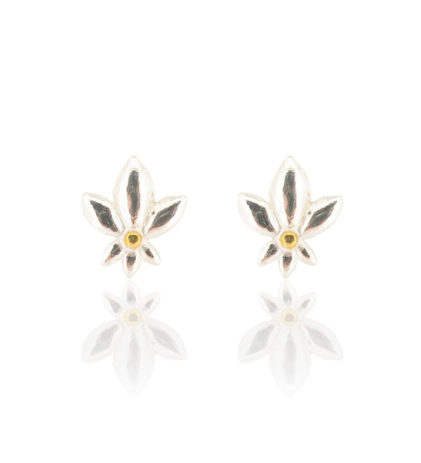 Lotus De Lys Stud Earrings - Silver