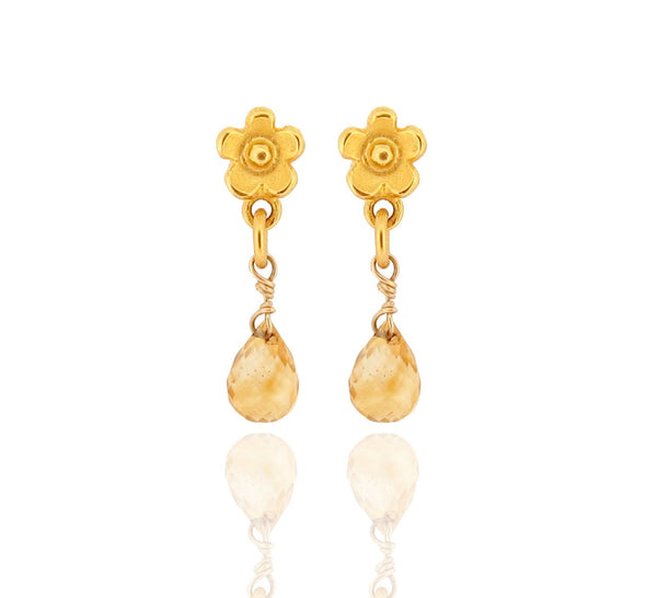 Marguerite Drop Earrings - Citrine - Gold