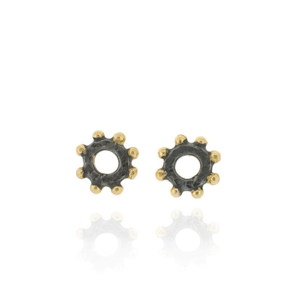 Casia Stud Earrings - Black & Gold