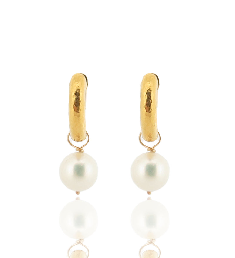 Gold Neo Hoops With Pearls - 18ct