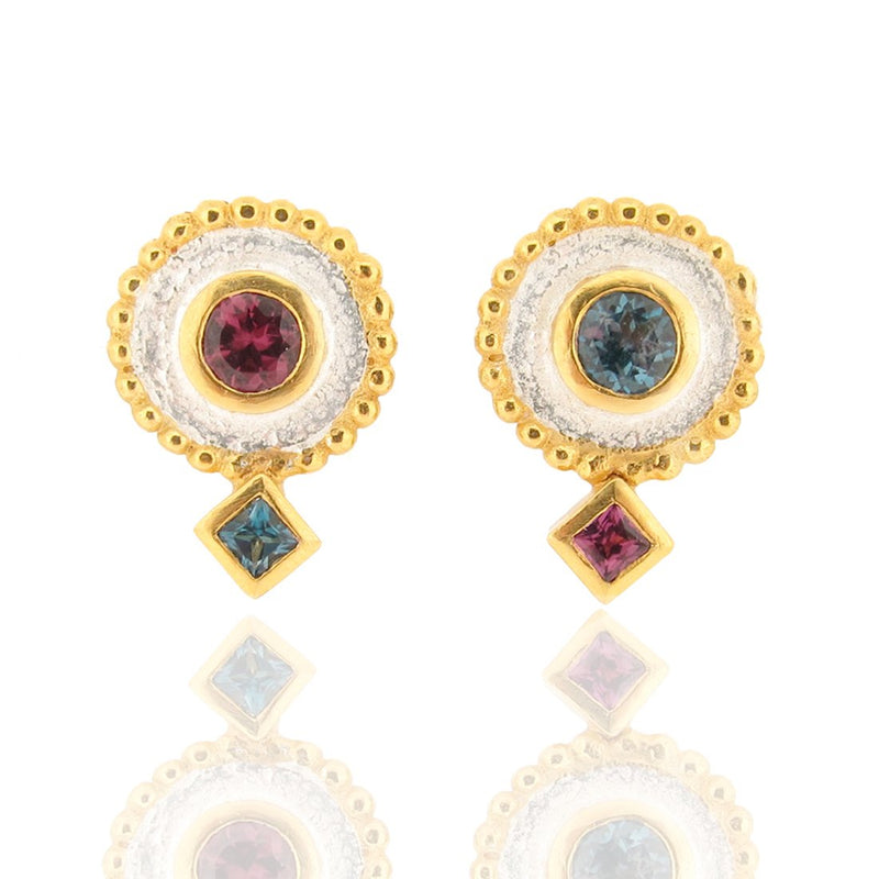 Oriel Asymmetrical Stud Earrings - Topaz & Rhodolite Garnet