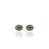 Edrie - Oval Stud Earrings - Black