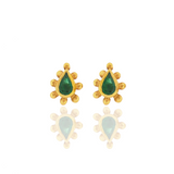 Rimini Stud Earrings - Emeralds