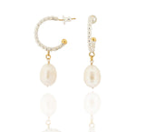 Litsa Hoop Earrings - Large Baroque Pearls - Silver