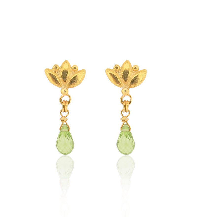 Small Lotus Drop Earrings - Peridot - Gold