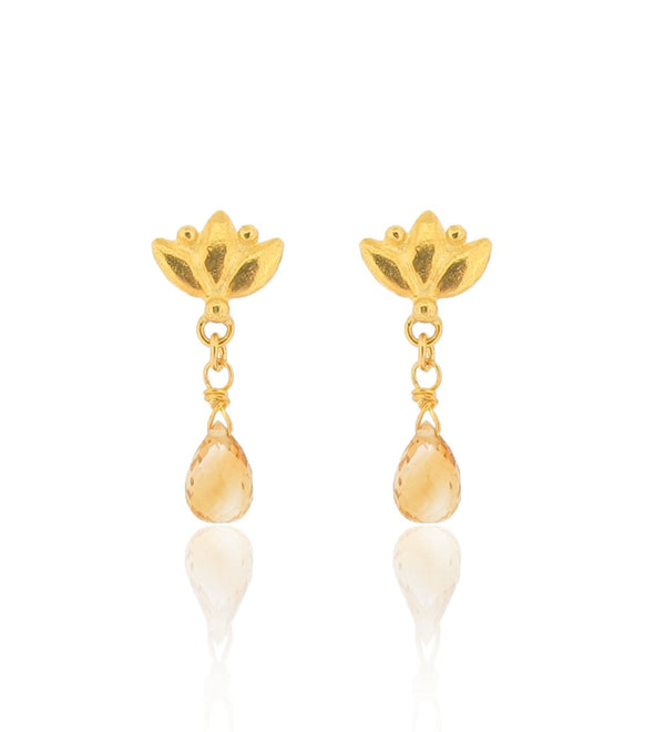 Small Lotus Drop Earrings - Citrine - Gold