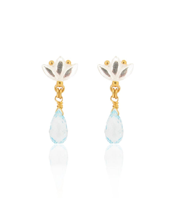 Small Lotus Drop Earrings - Blue Topaz - Silver