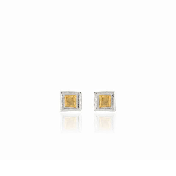 Edrie - Square Stud Earrings - Silver