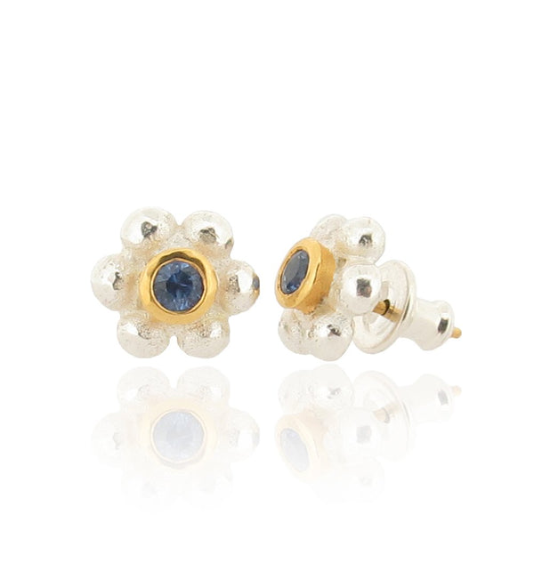 Grace Stud Earrings - Silver - Blue Sapphire