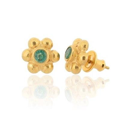 Grace Stud Earrings - Gold - Emerald
