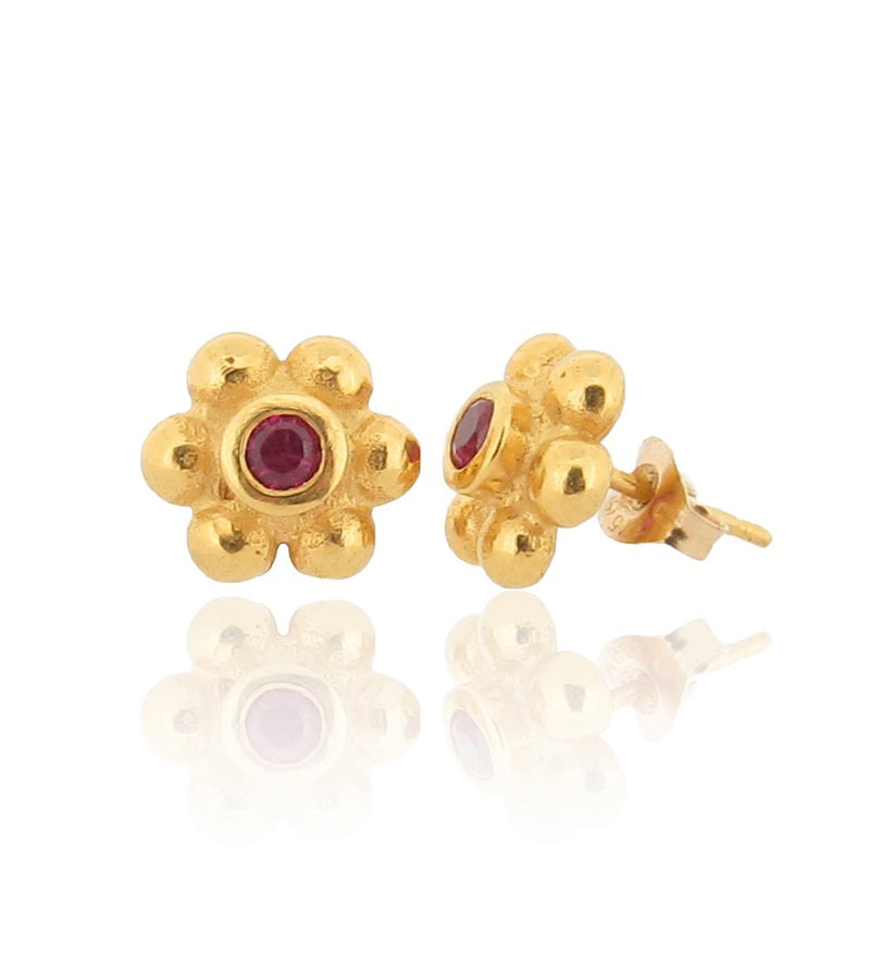 Grace Stud Earrings - Gold - Ruby