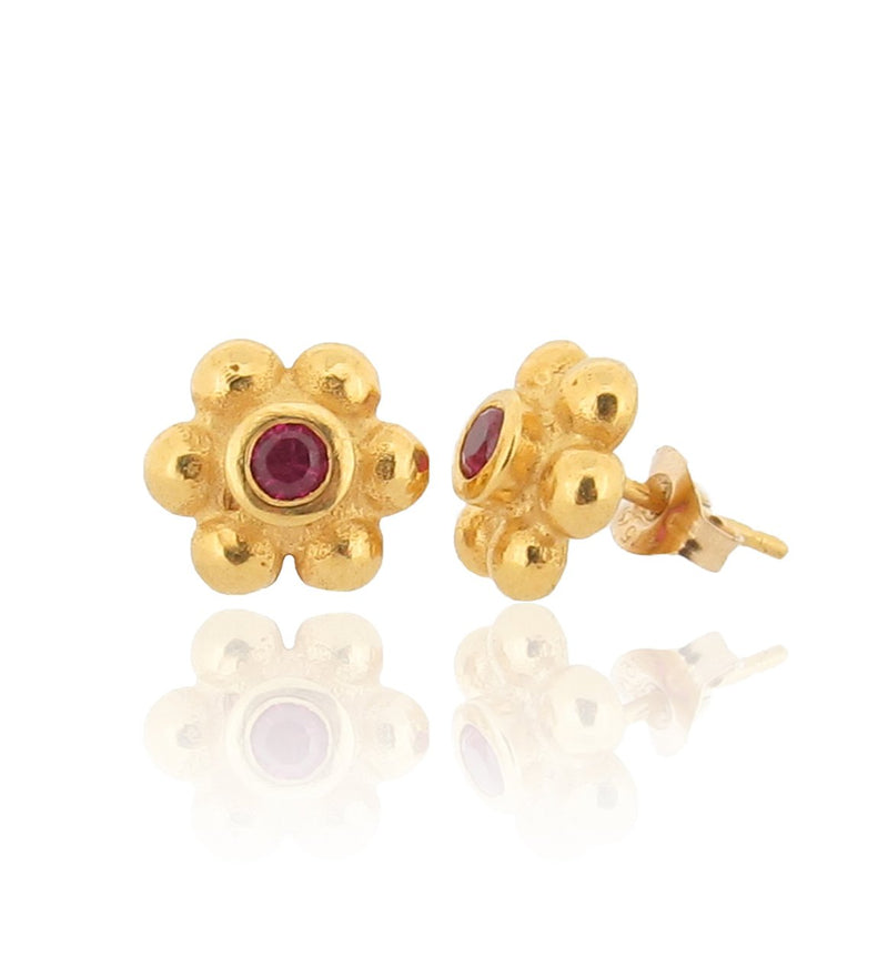 Grace Stud Earrings - 18ct Gold - Ruby