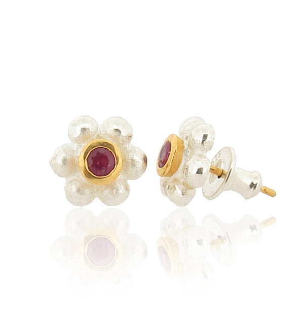 Grace Stud Earrings - Silver - Ruby