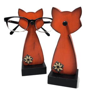 Porte-lunettes chat orange