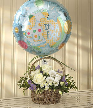 Blue Bundle Gift Set (Flowers & Balloon)