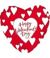 Happy Valentines Day - Red & White Hearts