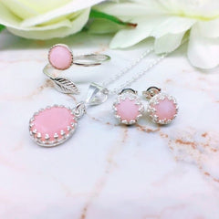 pink opal and sterling silver elegant necklace and earrings set