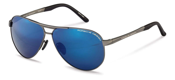 Driving Optics D-Satin Gunmetal with Strong Dark Blue Mirrored / 62-10-140 Large Size P8649 Porsche Design Sunglasses