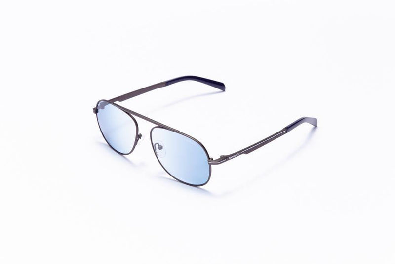 Formula 1 Eyewear Sunglasses Grey with Blue Lenses / 56-16-145 Large Size Formula 1 Blind Curve Sunglasses - Available for Pre-Order Now!