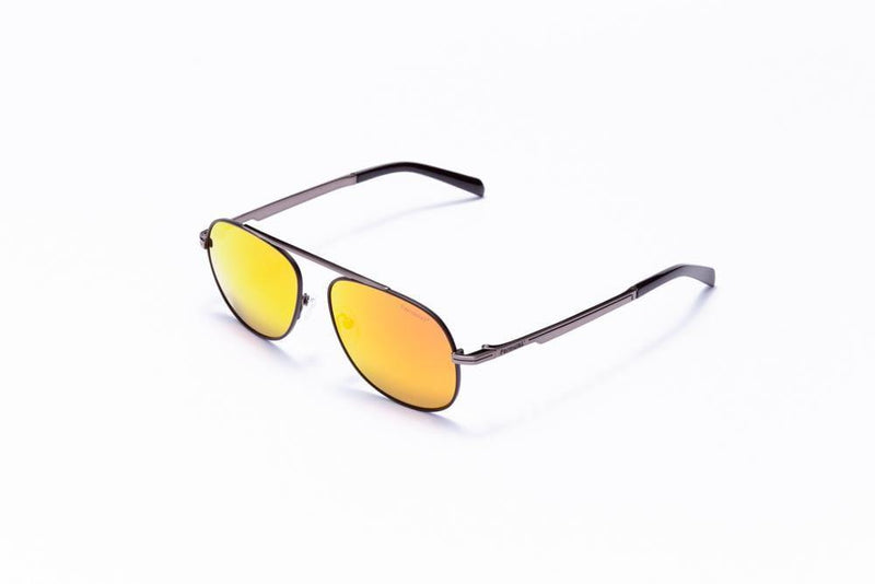 Formula 1 Eyewear Sunglasses Gunmetal with Yellow Flash Mirror Lenses / 56-16-145 Large Size Formula 1 Blind Curve Sunglasses - Available for Pre-Order 12/1/2020