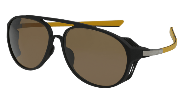 McLaren Eyewear Sunglasses C01-Matte Black Front with Black/Yellow Temples & Brown Polarized Sunlenses McLaren Graphite Series 01 Sunglasses-New!