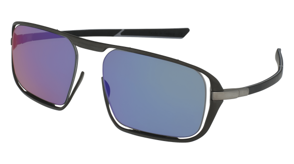 McLaren Eyewear Sunglasses Matte Anthracite Front & Black/Light Grey Temples with Blue Yachting Polarized Lenses McLaren Ultimate S02 3-D Titanium Printed Sunglasses